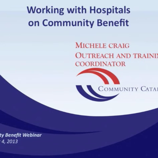 Community Benefit and Anchor Institutions - Linkages and Opportunities Screenshot