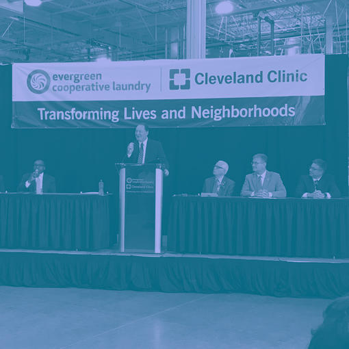 A joint event podium for the Cleveland Clinic and Evergreen Energy Solutions
